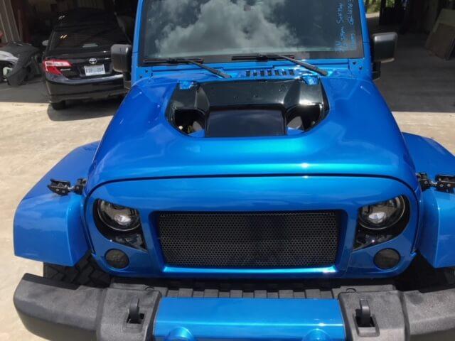 Blue jeep hood