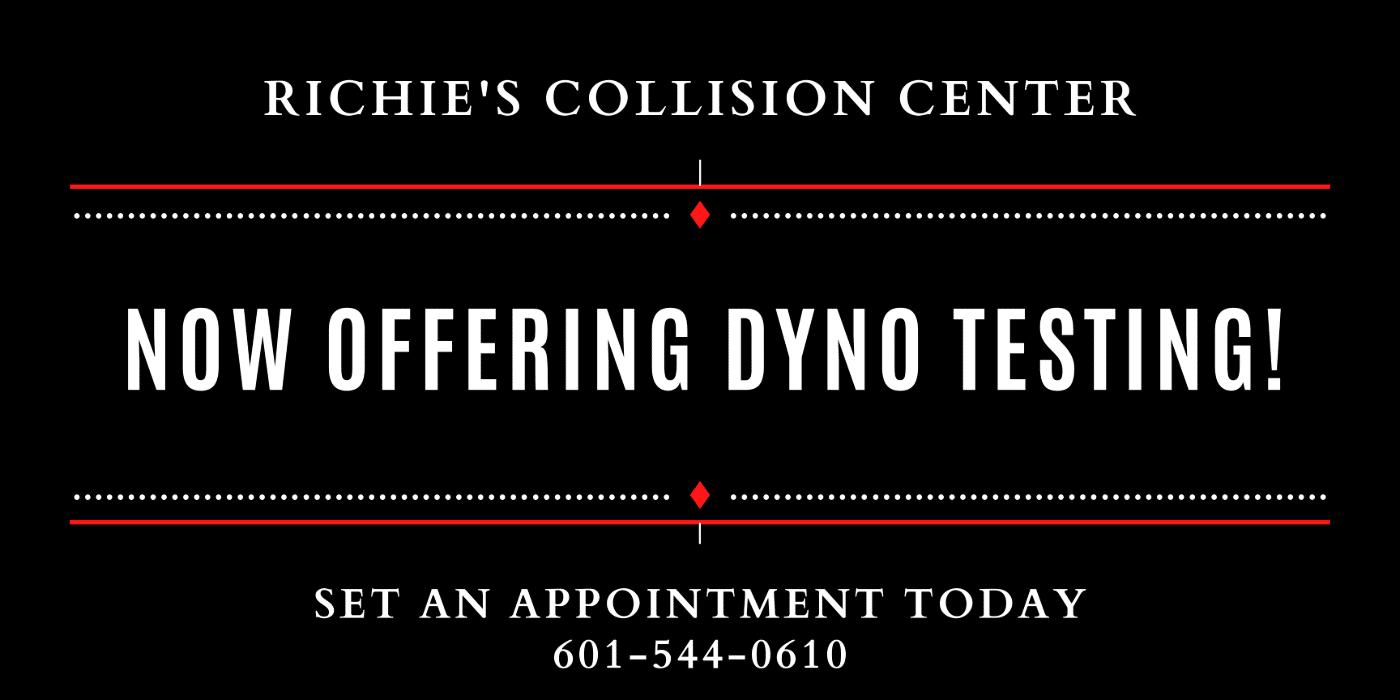Banner describing Richie's Collision Center dyno testing